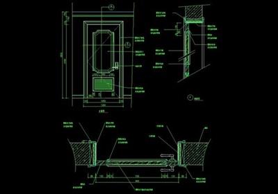 现代室内卧室门设计cad施工图