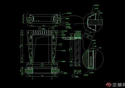 某详细的完整建筑大门素材cad施工图
