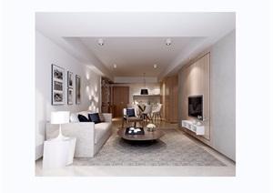 现代风格详细的客厅装饰3d模型及效果图