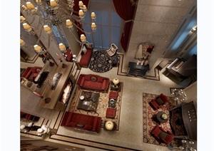 欧式古典详细的客厅设计3d模型及效果图