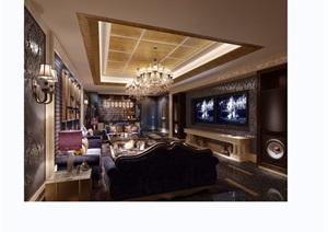 客厅详细完整设计3d模型及效果图