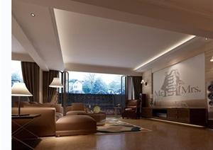 客厅住宅详细完整设计3d模型及效果图