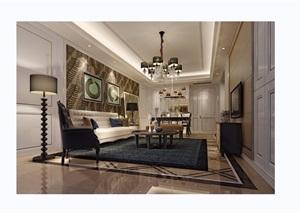 某现代详细的客厅装饰设计3d模型及效果图