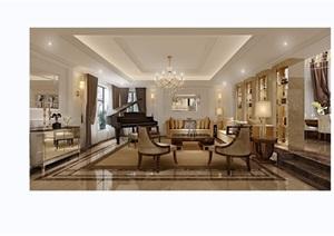欧式详细的住宅客厅装饰设计3d模型及效果图