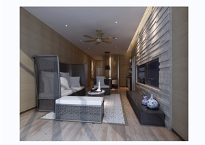 现代详细的整体客厅装饰设计3d模型及效果图