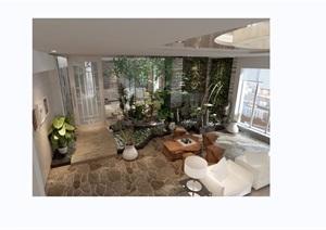 现代详细的客厅装饰设计3d模型及效果图