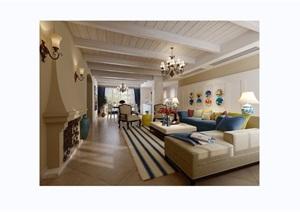 欧式详细的客厅装饰空间3d模型及效果图