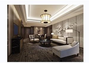 详细的完整客厅装饰设计3d模型