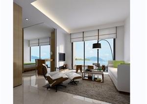 现代整体完整详细的客厅设计3d模型及效果图