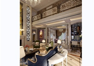 某欧式风格详细的完整客厅装饰设计3d模型及效果图