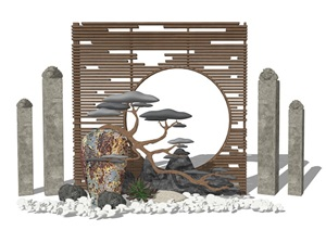 新中式景观小品 庭院小品 摆件 隔断 装饰墙