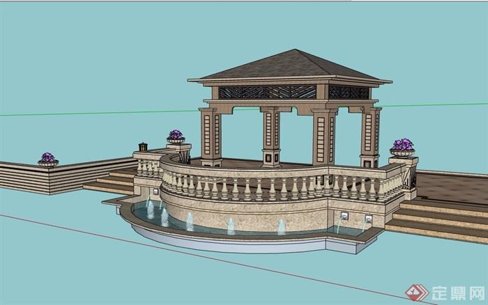 欧式风格详细的亭子及水景素材设计su模型