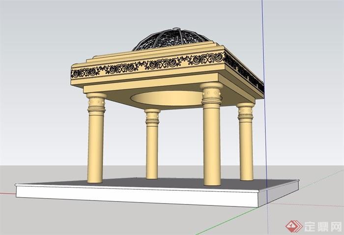 欧式详细的经典完整的亭子su模型