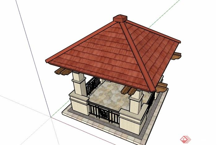 欧式亭子节点素材详细设计su模型