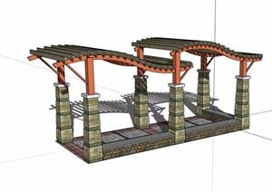 独特廊架详细完整设计SU(草图大师)模型