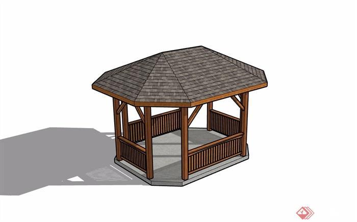 欧式风格园林景观休闲亭子su模型