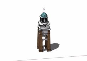 欧式风格详细的钟塔素材SU(草图大师)模型
