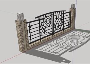 围墙详细的整体设计SU(草图大师)模型