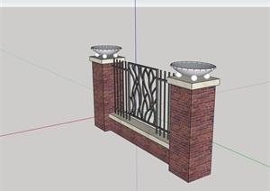 铁艺围栏围墙素材设计SU(草图大师)模型