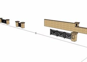 四种庭院围墙详细设计SU(草图大师)模型