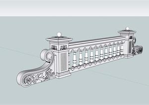 欧式详细的无材质贴图栏杆素材设计SU(草图大师)模型