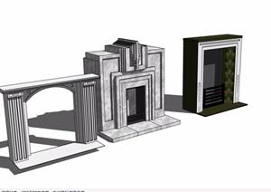 三种壁炉素材设计SU(草图大师)模型