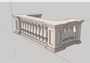 详细的欧式整体栏杆设计SU(草图大师)模型