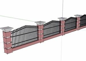 详细的小区铁艺栏杆围墙素材设计SU(草图大师)模型