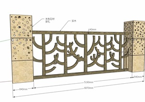 两种不同的围栏围墙素材设计SU(草图大师)模型