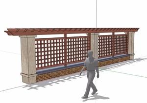 栅格花架围墙素材设计SU(草图大师)模型