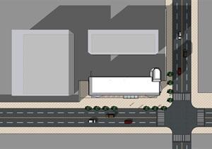 现代商业展示大楼建筑设计SU(草图大师)模型