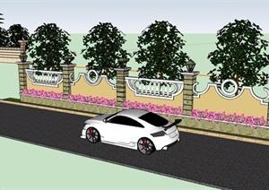 两个不同的详细围墙素材设计SU(草图大师)模型