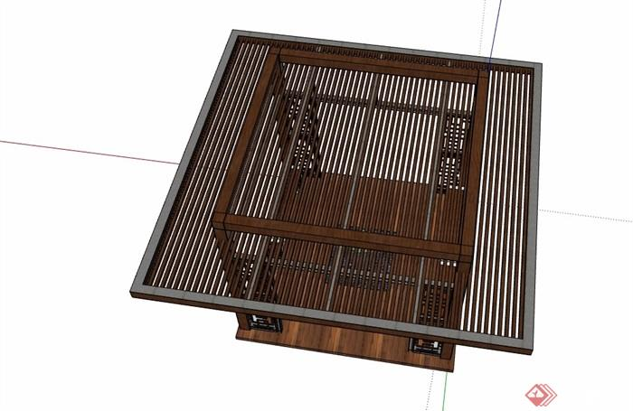 现代中式详细完整亭子素材设计su模型
