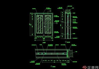 详细的完整室内装饰门设计cad施工图