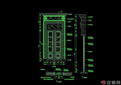 详细的装饰门设计cad施工图