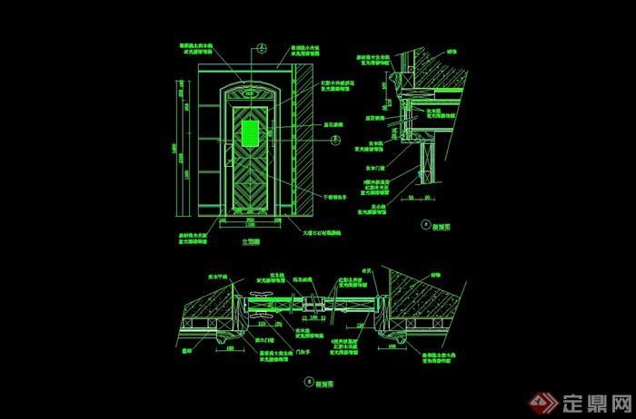 詳細的完整臥室門設計cad施工圖
