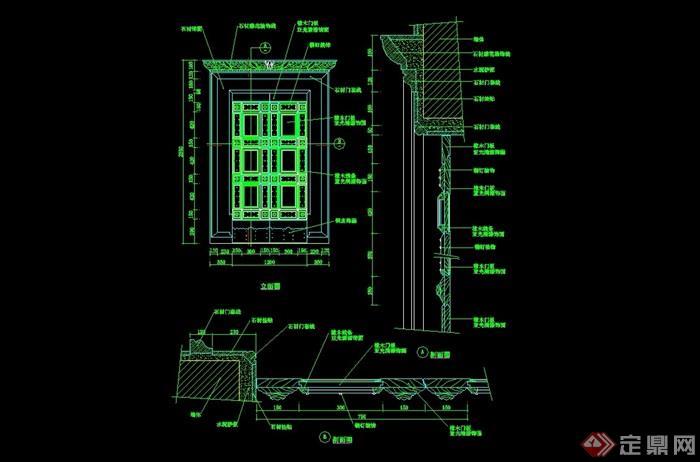 詳細的整體完整臥室門設計cad施工圖