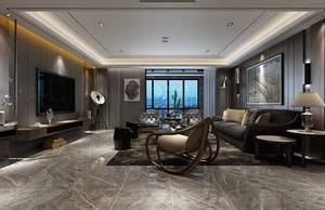 西安鲁班装饰-金地湖城大境262平米现代低奢风格装修设计
