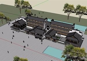 中式详细的商业建筑楼SU(草图大师)模型