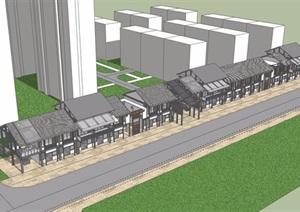 中式风格两层详细的商业街建筑楼SU(草图大师)模型
