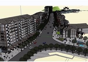 中式商业街详细完整建筑设计SU(草图大师)模型
