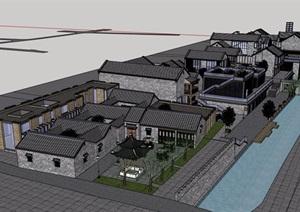 古镇商业多层建筑楼设计SU(草图大师)模型