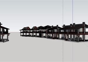 中式风格详细的两层茶楼建筑SU(草图大师)模型
