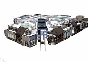 中式详细多层商业中心建筑SU(草图大师)模型