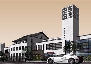 详细的多层商业街建筑楼SU(草图大师)模型