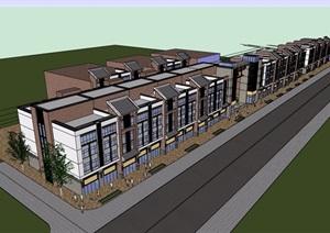 中式四层详细的商住楼设计SU(草图大师)模型