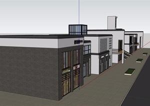 两层详细的完整商业楼建筑SU(草图大师)模型
