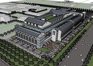 中式详细的商业中心多层建筑SU(草图大师)模型