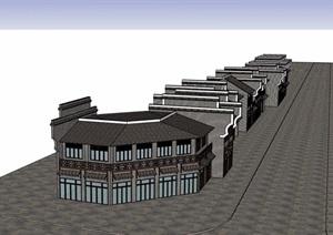 两层详细的完整中式商业建筑设计SU(草图大师)模型
