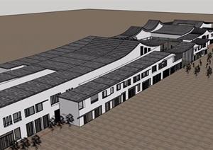 中式独特详细的商业中心建筑设计SU(草图大师)模型
